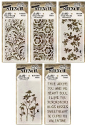 Tim Holtz - Early 2015 Release - Stencils Set 1 - Blossom, Flourish, Lace, Wildflower & Valentine - 5 Item Bundle