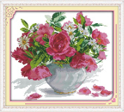 Benway Counted Cross Stitch Red Roses And Daisies In Vase 14 Count 39X36cm