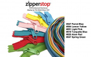 Zipperstop Wholesale YKK® 120cm 6pcs Assorted Hottest Colours YKK® #4.5 Handbag Zippers - Extra-long Pull Closed Bottom Colour #547 Parrot Blue, #504 Lemon Yellow, #851 Light Pink, #018 Turquette Blue, #820 Atom Red and #047 Spring Green
