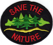 Iron on Patch Embroidered Patches Application Save the Nature Badge Emblem Environment Ecology