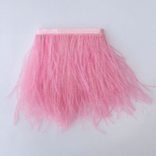 5 yards Pink Ostrich Feather Trim Fringe on Satin Header 10cm - 15cm in Width for Wedding Sewing Crafts Costumes Decoration