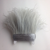 5 yards Light Grey Ostrich Feather Trim Fringe on Satin Header 10cm - 15cm in Width for Wedding Sewing Crafts Costumes Decoration