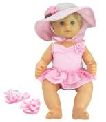 3 Pc Set, 38cm Doll Clothes, Light Pink Flip Flops, Polka Dot Hat, Ballet Bathing Suit