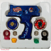 BEYBLADE METAL FUSION Blue Hybrid Wheel Fight Attack Double Launcher+2 Beyblade