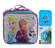 "Disney Frozen ""School Ready"" Girls Sparkle Resuable Lunch Box with Strap! Plus Bonus Frozen Sandwich Container & Frozen Crust Cutter!"