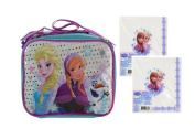 Disney Frozen Girls Sparkle Resuable Lunch Box with Strap! Featuring Ice Queen Elsa, Princess Anna & Olaf! Plus Bonus Frozen 20ct 2 Ply Lunch Napkins!