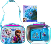 Disney Frozen Anna and Elsa Adjustable Shoulder Strap Lunch Box with Water Jug and Disney Frozen Sandwich Container with Bonus Crust Cutter