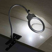 2.25X 5X LED Magnifying Table Desk Lamp Magnifying Glass with Clamp