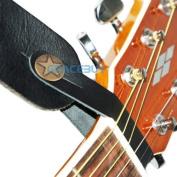 Black Genuine Leather Guitar Strap Hook Button for Acoustic / Folk / Guitar