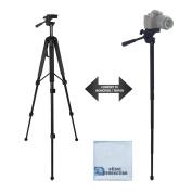 170cm Elite Series Professional Heavy Duty Convertible Tripod/Monopod for DSLR Cameras & Camcorders + eCost Microfiber Cloth