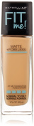 Maybelline New York Fit Me Matte Plus Poreless Foundation Makeup, Sun Beige, 1 Fluid Ounce