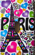 Paris Light Switch Plate Covers / Single Toogle / Eiffel Tower Switch Plates with Multicoloured Leopard Print Hearts