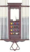 Cue Rack Only- 10 Pool - Billiard Stick & Ball Wall Rack Choose Oak or Mahogany Finish Made of Wood