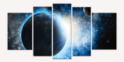 Glass Wall Art Acrylic Decor Cosmos, 5 Stars Gift and a Contemporary Clock Startonight Set of 5 Total 90cm X 180cm