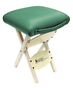 Custom Craftworks Wooden Folding Stool with PU Cushions, Teal