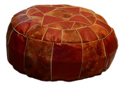 Egyptian Moroccan Handmade Genuine Leather Ottoman Pouffe (Large)