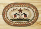 Earth Rugs 65-300SBS Sheep and Barn Stars Rug, 50cm by 80cm , Braided, Multicolor/Natural