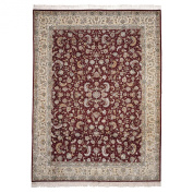 Safavieh Tabriz Floral Collection TF35 Hand-Knotted Wool and Silk Area Rug, 1.8m by 2.7m, Burgundy and Yellow