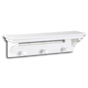 InPlace Shelving 0199144 43cm Wide Wall Shelf with Pegs, White