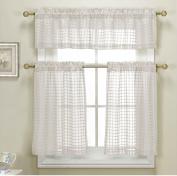 3 Piece White Sheer Kitchen Curtain Set