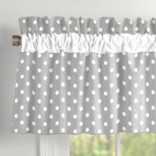 Grey and White Dots and Stripes Window Valance with Accent Trim