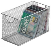 Ybm Home Mesh Storage DVD Box, Silver Mesh Great for School Home or Office Supplies, Books , Dvd's Computer Discs and More #2318
