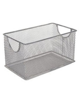 Ybm Home Mesh Storage Box, Silver Mesh Great for School Home or Office Supplies, Books , Computer Discs and More 2302