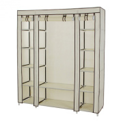 Songmics 150cm Portable Clothes Closet Non-woven Fabric Wardrobe Storage Organiser with Shelves Beige ULSF03M