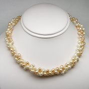 Freshwater Pearl Twisted Necklace, Peach and White Natural Colour