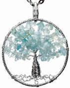 Aquamarine Tree of Life Gemstone Jewellery Best Friend Necklace Silver Pendant Deluxe Gift 46cm 60cm Chain