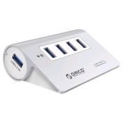 Orico Premium Aluminium 4 Port Mac Design USB 3.0 Hub with Data Cable (M3H4) SILVER