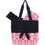 Beautiful Vine Geometric Print Quilted 3pc set Nappy Bag