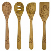 Talisman Designs 30cm Solid Beechwood Mixing, Slotted & Corner Spoon Plus Spatula Turner with Woodland Design