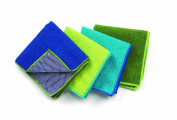 Ritz Microfiber 41cm by 48cm Polka Dot and 2 Solid Bar Mop Towels, Blue/Green, 3-Pack