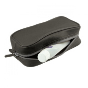 Lucrin - Small toilet bag - Granulated cow - Leather - Dark grey