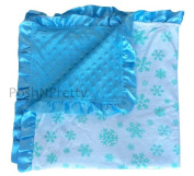 Soft and Cosy Large Minky blanket - Blue Snowflakes