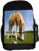 Rikki Knight UKBK Horse Foal Eating Grass Superstrong BackPack - Padded for Laptops & Tablets Ideal for School or College Bag BackPack