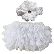 EQLEF® Cute and Soft Lace Ruffle Bloomers Nappy Covers Headband Set For Baby