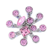 Godagoda Silver Colour Dandelion Snap Button with Pink Rhinestones