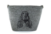 English Cocker Spaniel, grey bag, Shoulder bag with dog, Handbag, Pouch, High quality, Pet Lover, Purse, For Ladies, Women, Tote bag