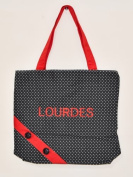 Lourdes Shopping Bag with Spots and Buttons in Black and Red