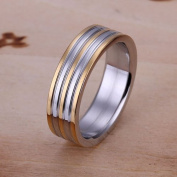 Unisex 18 K Gold Plated Striped Ring
