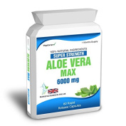 Body Smart Herbals - Aloe Vera 60 Max Capsules 6000mg High Strength Colon Cleanse Skin Care