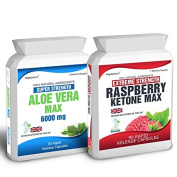 Body Smart Herbals - 90 Raspberry Ketone Plus 60 Aloe Vera Colon Cleanse Weight Loss Diet Pills