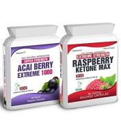 Body Smart Herbals - 90 Raspberry Ketone Plus 60 Acai Berry Extreme Weight Loss Slimming Diet Pills