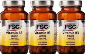 FSC Vitamin B3 Niacinamide 500mg 60 Capsules x 3 Packs