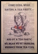 Vintage Alice In Wonderland Mad Hatters Tea Party Print Picture Dictionary Page