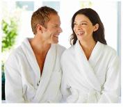 Love2Sleep MAN & WOMAN UNISEX 100 % COTTON BATHROBE DRESSING GOWN BATH ROBE - MEDIUM WHITE