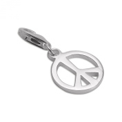 Sterling Silver Peace Sign Clip on Charm