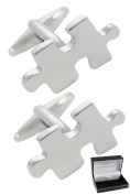Collar and Cuffs London - Classic Jigsaw Puzzle Piece Executive Cufflinks - High Quality Brass - Silver Colour - Presentation Gift Box Included